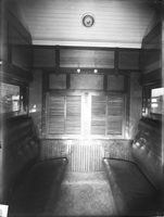 Interior sleeping compartment - second class set up for day, circa 1917