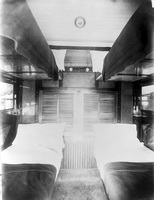 Interior sleeping compartment - second class set up for night, circa 1917