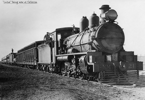 circa 1930,Central Australia Railway NM 21 on Limited taking water at Callanna