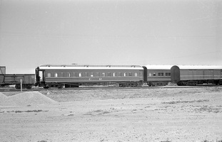 12.1971 Port Augusta - composite situp car AB17 on marree train + mail van in foreground