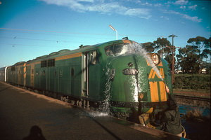 27.7.1989,Kalgoorlie station washing GM41 windscreen