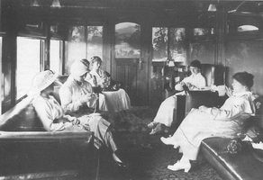 Publicity photo of AF class lounge car ladies compartment taken 1917