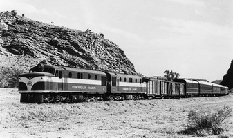 The narrow gauge Ghan at Alice Springs, circa 1960s