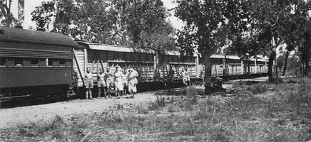 "02.08.1944 - ""NOA"" class cars on the Hospital Train at Adelaide River"