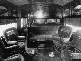 circa 1917 Interior of Joint Stock Sleeping car smoking saloon