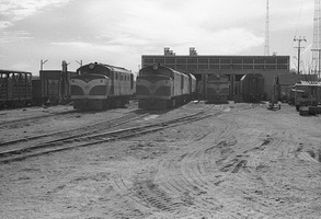 28.8.1976 - Alice Springs - View of loco depot NSU 59, NSU55, NSU57 and NJ2