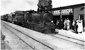 c.1921, loco SAR T180 with passenger train in station - station building + passengers - Hammond