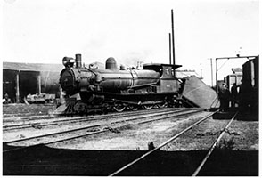 c.1948 - loco SAR T213 with tender in turntable pit - Peterborough
