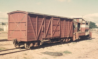 A wooden bodied V van and MDH 6 at Port Augusta workshops, 23.3.1970